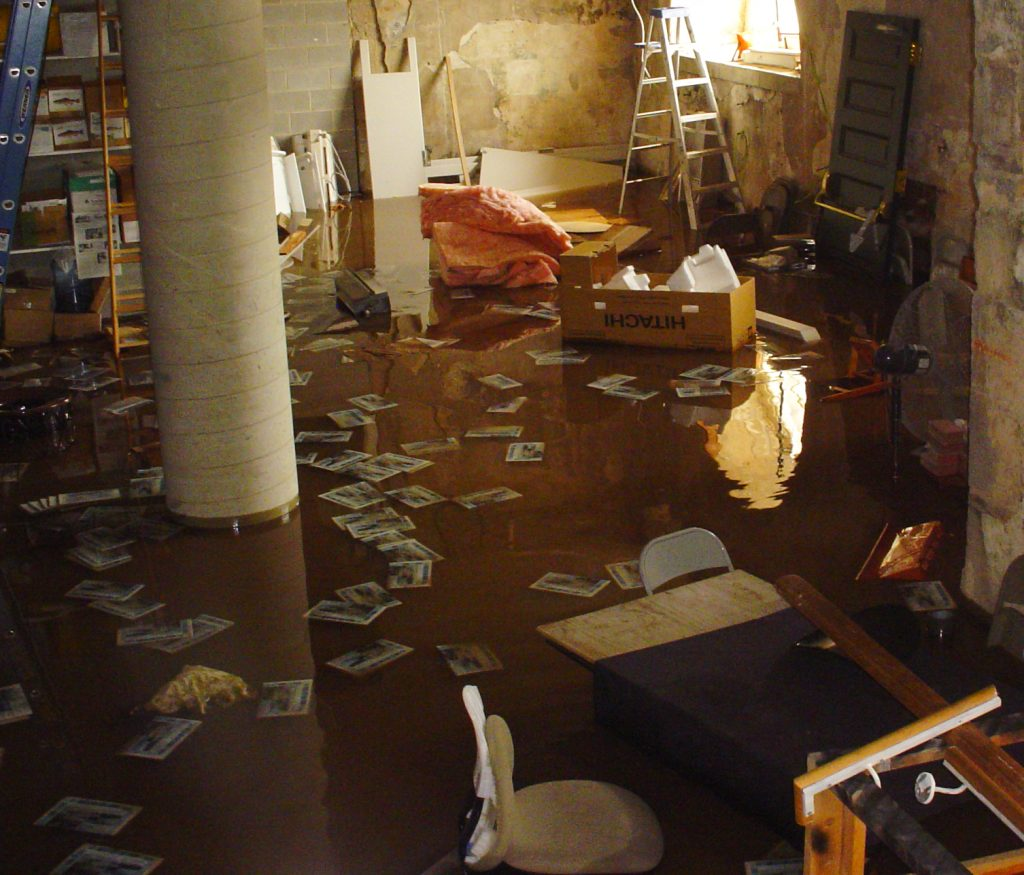 flooded basement debri