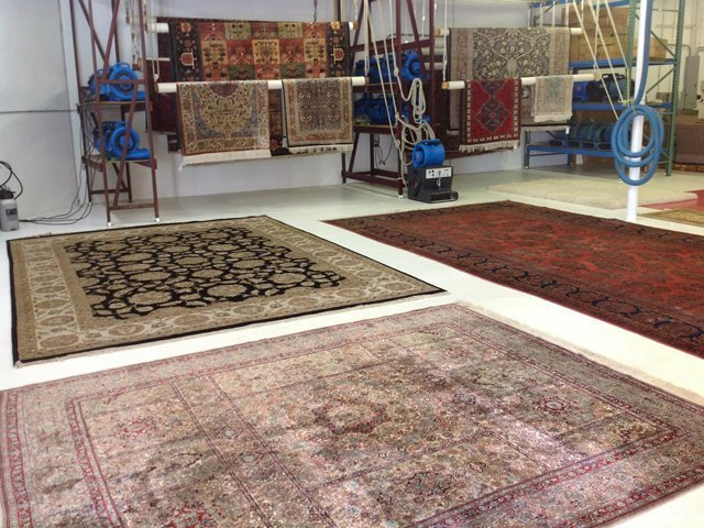 clean rug in warehouse